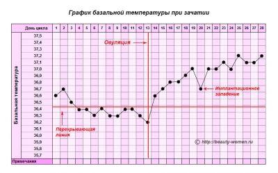 Імплантації западання на графіку базальної температури тіла